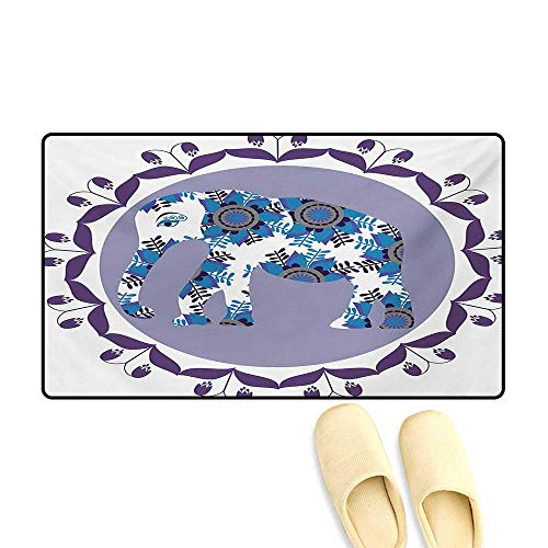 - Bath Mat,Ornate Elephant Figure in Medallion Pattern with Tulip Flowers Eastern Artwork,Door Mat Outside,Lilac Blue White,20