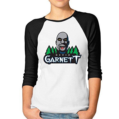 MAYOYIAII Women's Kevin Garnett Logo 3/4 Sleeve Baseball T Shirts Black