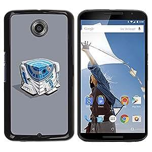 Caucho caso de Shell duro de la cubierta de accesorios de protección BY RAYDREAMMM - Motorola NEXUS 6 / X / Moto X Pro - Character Blue White Beeping Movie