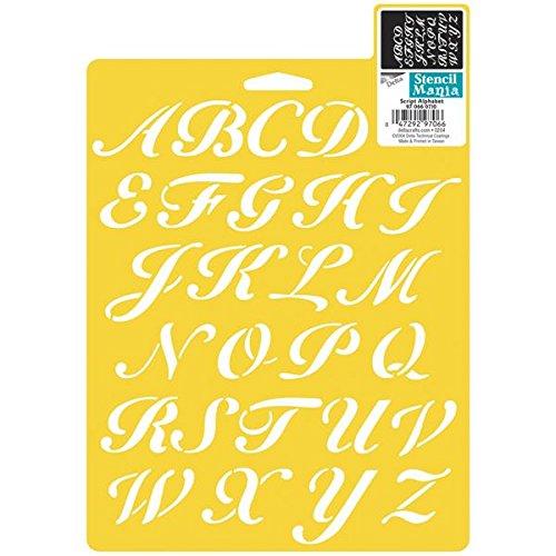 Cursive letter stencils amazon delta creative stencil mania stencils 7 by 10 inch 970660710 script alphabet spiritdancerdesigns Images