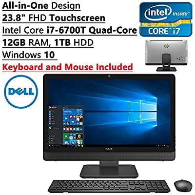 Dell Newest All-In-One Inspiron 23.8 inch Full HD Touchscreen Flagship High Performance Desktop PC| Intel Core i7-6700T Quad-Core| 12GB RAM| 1TB HDD| DVDRW| Bluetooth| Windows 10| Keyboard and Mouse