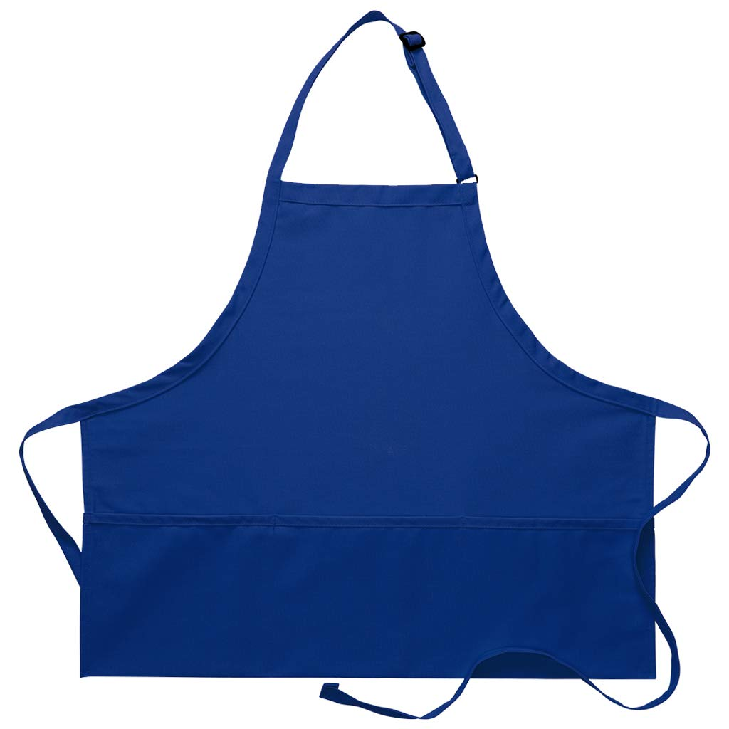 DayStar Apparel 200XL Extra Large Three Pocket Bib Apron (12 Pack), Royal
