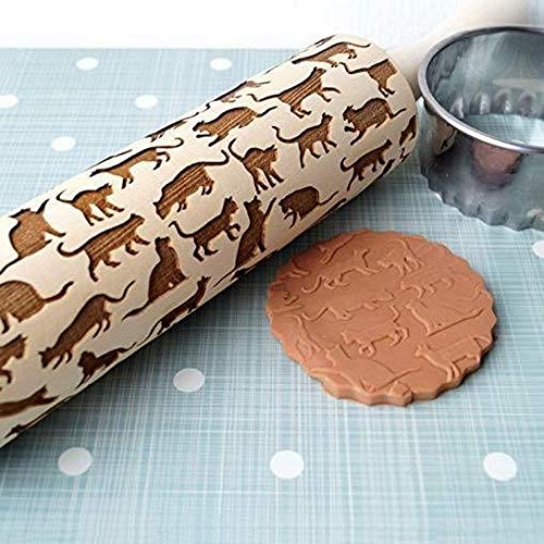 MooMax Rolling Pin with Design,Engraved Carved Wood Embossed Suitable with Kids Dough & Fondant Cookies, Crusts, Pies & Pastry Clay Crafts