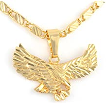 Mens Womens Eagle Hawl Pendant 24k Real Gold Plated Necklace Chain