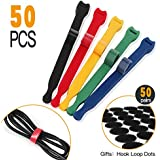 Reusable Cable Ties Strap,Cord Wraps,Adjustable Hook Loop Fastening Straps for Earbud Headphones Phones TV Wire Wrap Management,5 Colors