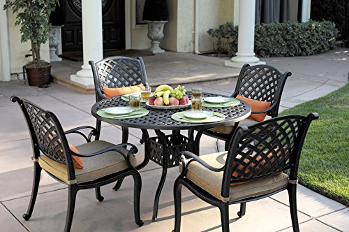Darlee Nassau Cast Aluminum 5-Piece Dining Set with Seat Cushions and 48-Inch Round Dining Table, Antique Bronze Finish