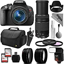 Canon EOS Rebel T5i Digital SLR Camera + 75-300mm + 18-55mm + Filter Kit + Flash + 64GB Memory + Bag + Case + Cleaning Kit + Telephoto + Wide Angle Macro Lenses
