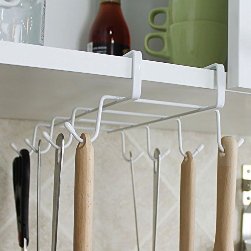 6 Hooks Cup Holder Hang Kitchen Cabinet Under Shelf: Under The Shelf 8 Hook Espresso Cup Storage Drying Rack