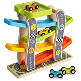 Wooden 4 Lanes Ramp Race Track Tower Games with 4 Mini Racing Cars Toy Set for Kids Toddlers