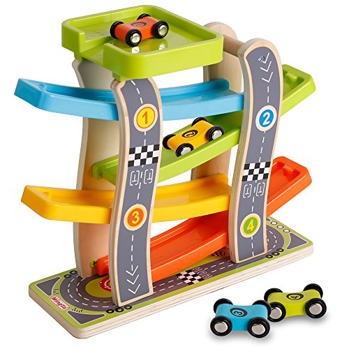 Wooden 4 Lanes Ramp Race Track Tower Games with 4 Racing Cars Toy Set for Kids Toddlers (Set Race Wooden Cars)