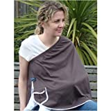 ORGANIC NursEase Breastfeeding Shawl- Organic Small Brown with Floral Trim