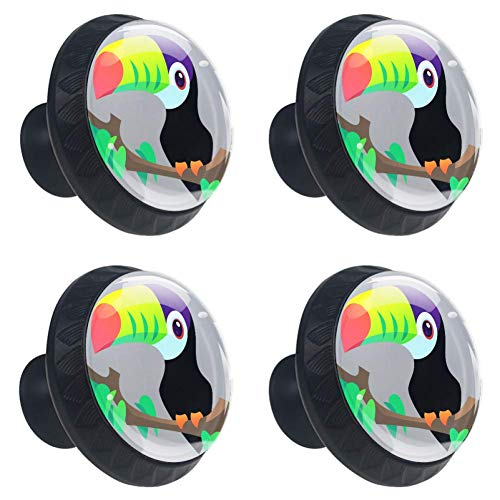 DJROW Toucan Vector 4 Pcs Crystal Glass Cabinet Knobs 30mm Diamond Shape Drawer Kitchen Cabinets Dresser Cupboard Wardrobe Unique Pulls Handles