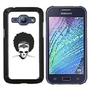 KLONGSHOP // Cubierta de piel con cierre a presión Shell trasero duro de goma Protección Caso - Afro Cráneo - Samsung Galaxy J1 J100 //