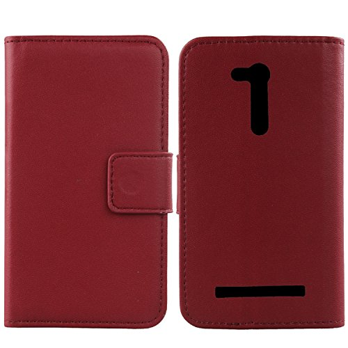 """Gukas Design Genuine Leather Case For Asus Zenfone Go ZB452KG 4.5"""" Wallet Premium Flip Protection Cover Skin Pouch With Card Slot (Dark Red)"""