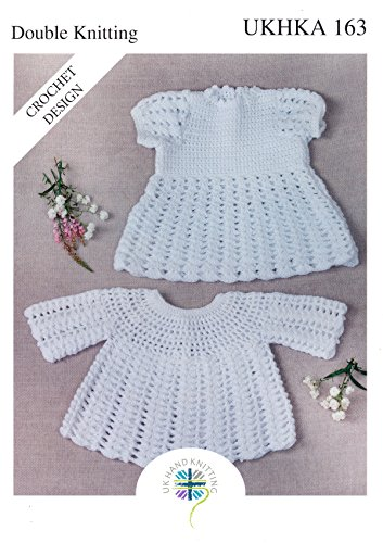 UKHKA Double Knit Crochet Pattern for Baby Lace Detail Dress & Long Sleeve Angel Top 163