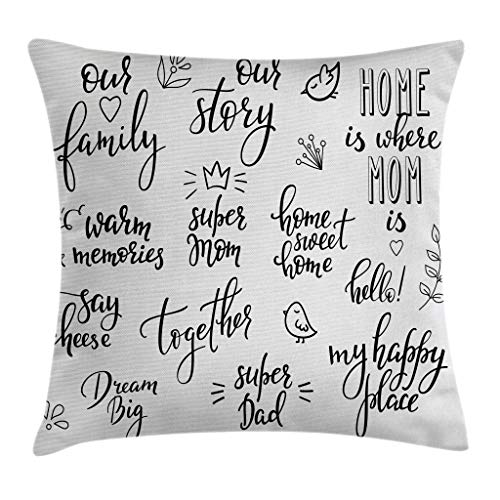 """Ambesonne Family Throw Pillow Cushion Cover, Various Calligraphy Family Lettering Set Birds Crown Blooms Spring Season, Decorative Square Accent Pillow Case, 16"""" X 16"""", Grey Black"""