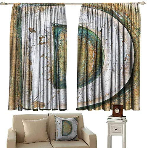 DUCKIL Decor Curtains Letter C Rustic Initials C Capital Letter Name with Old Fashion Grunge Effects Blackout Draperies for Bedroom Window W55 xL63 Pale Orange Green White
