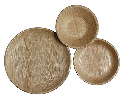 CaterEco 75 Piece Palm Leaf Round Dinnerware Set -  25 10