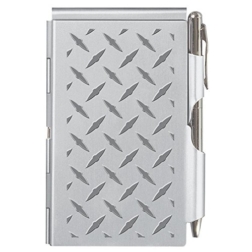 Wellspring Flip Note, Metal Pocket-sized Notebook with Pen, Silver Diamond Plate (2279)