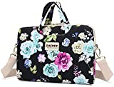 Dachee Black Flowers Patten Waterproof Laptop Shoulder Messenger Bag Case Sleeve for 14 Inch 15 Inch Laptop Case Laptop Briefcase 15.6 Inch