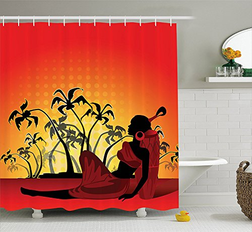 Dress Sunset 70 60 of Inches Silhouette Ethnic Hooks front Shower in Set Tree Curtain Tribal Fabric Palm Bathroom African with Decor in Woman x0BP1Rv