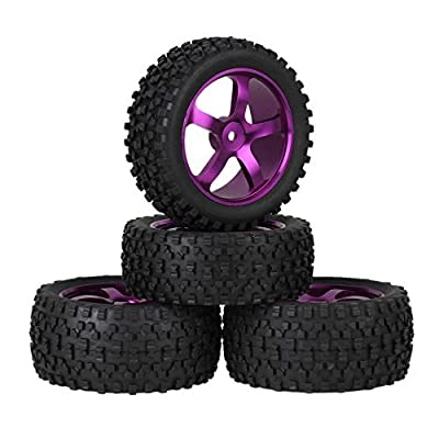 Mxfans Purple Aluminium Alloy 5 Spoke Wheel Rims + Black H Type Rubber Tyres Tires for RC 1:10 Off Road Car Buggy Upgrade Parts Pack of 4