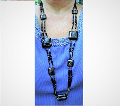 Antique Victorian Black Beaded 38'' BELT or Necklace. 110 Beautiful Large & Small Double Strung On Head Pins, Jump Rings. Very Versitle. by EMENOW