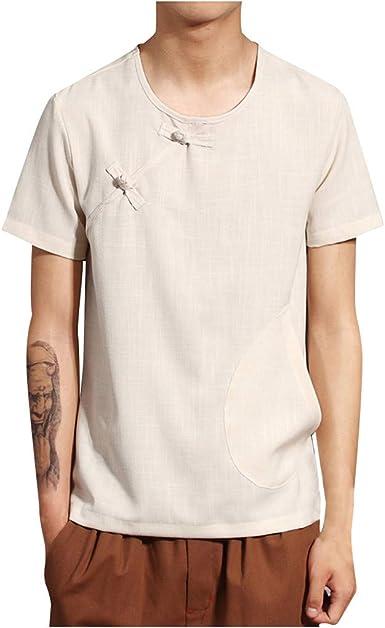 TUDUZ Camisetas Hombre Verano Manga Corta Algodón Y Lino Camisas Color Puro Tops Estilo Retro Chino: Amazon.es: Ropa y accesorios
