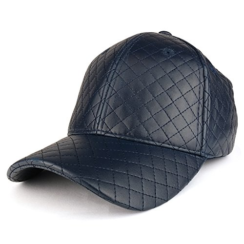 Leather Quilted Hat - Trendy Apparel Shop Plain Quilted PU Leather Polyester Structured Adjustable Baseball Cap - Navy
