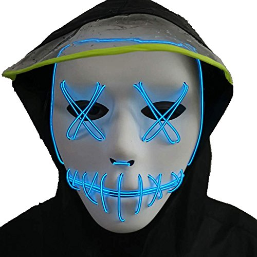 Halloween Mask,LED Masks Glow Scary Mask Light Up Cosplay Mask Rave Mask for Festival Music Party Parties Costume Christmas
