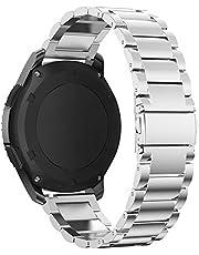 Pinhen 22mm Acero Inoxidable Correa - Gear S3 Pulsera Reemplazo Banda para Galaxy Watch 46mm, Moto 360 2 46mm, Huawei Watch GT, LG G Watch Urban, Ticwatch Pro, Pebble Time