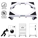 Removable Washing Machine Base Stand Wheels Adjustable Pedestal Base Tray Dolly Roller Refrigerator Base Stainless Steel Poles Laundry Washer Bracket for Samsung LG GE