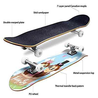Classic Concave Skateboard A Couple of Monkeys just Married Hearts and Monkeys Cartoons Couple Longboard Maple Deck Extreme Sports and Outdoors Double Kick Trick for Beginners and Professionals : Sports & Outdoors