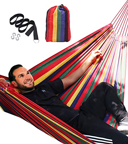 Zupapa XL Brazilian Double Cotton Hammock w/Straps, 2 Person Swing Bed for Backyard Lounging Outdoor Indoor Travel Camping - 550lbs Capacity, Lightweight and Portable