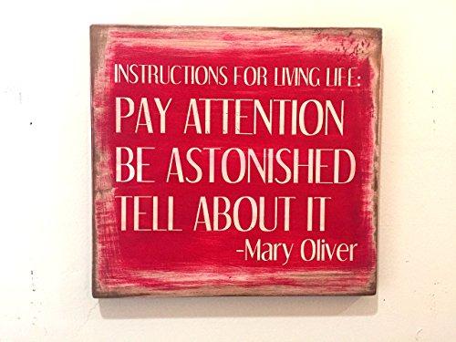 Mary Oliver Quote Sign - Instructions for Living Life - Rustic distressed primitive vintage antiqued - Vintage Oliver Sign