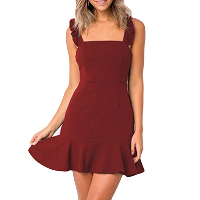 Wawer Vestido de Verano para Mujer, Mini Vestido de Noche Sólido, Casual Vacaciones Sin Mangas Cuello O Vestido para Fiesta/Cóctel/Boda/Playa: Amazon.es: ...