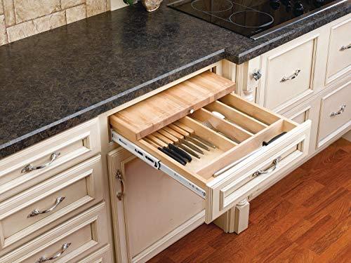 Rev-A-Shelf Combination Knife Holder/Cutting Board Drawer Organizers, Natural
