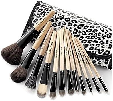 kit de pinceles de maquillaje de lujo de 12 piezas de madera con estuche de leopardo by DELIAWINTERFEL: Amazon.es: Belleza