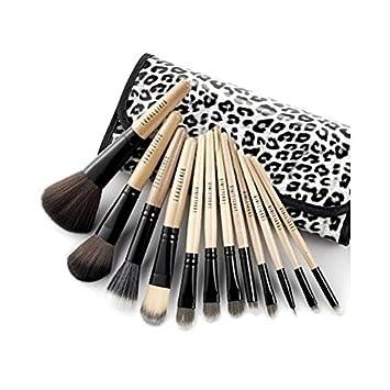 Set 12 Brochas Pinceles Leopardo Maquillaje Cosmético Profesional Makeup Funda