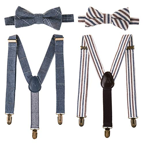 Last King Outfits (Ava & Kings Kids 4pc Bowtie & Suspender Matching Set | Y-Back Clip On Adjustable Braces for Boys & Toddlers - Blue)