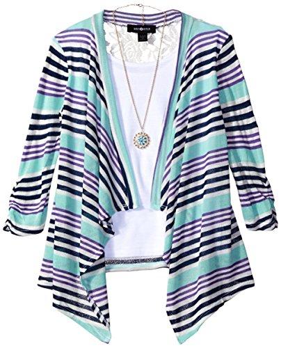 Amy Byer Big Girls' 3/4 Sleeve 2Fer Cozy With Lace Back, Multi Stripe, Medium