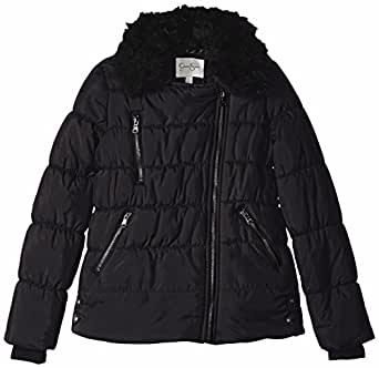 Jessica Simpson Big Girls' Faux Fur Asymmetrical Puffer Jacket, Black, 7/8
