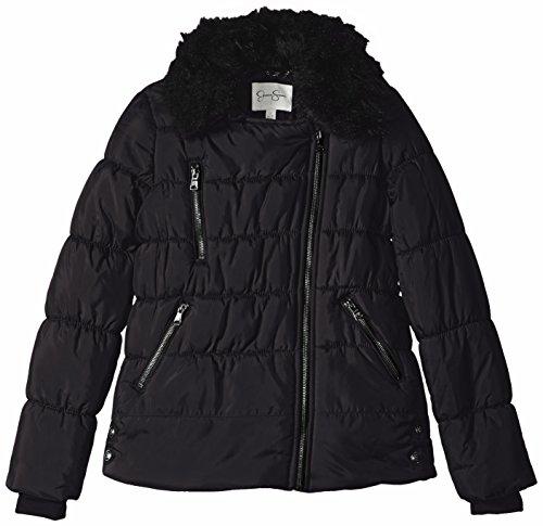 Jessica Simpson Big Girls Faux Fur Asymmetrical Puffer Jacket