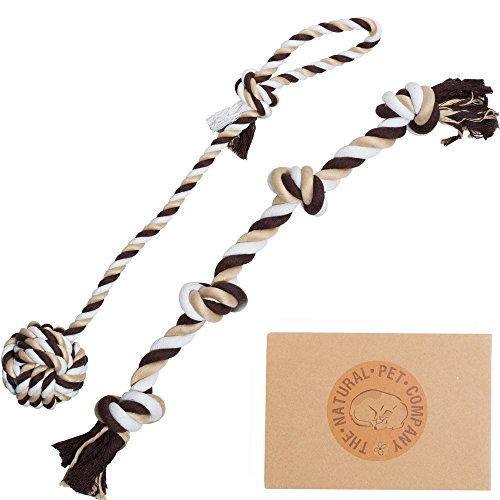 The Natural Pet Company Two Fantastic Quality Dog Toys in Beautiful Gift Box (Tug-of-War Dog Rope Toy Double Pack) (for Interactive Play with Your Dog)