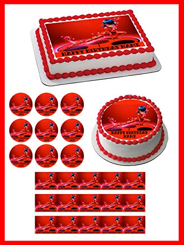 Amazon Com Miraculous Ladybug Wiki 1 Edible Cupcake Toppers 2
