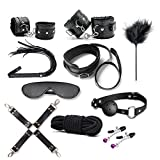 Sexy Slave Extreme 10 Piece Restraints Kit Under Bed Bondage Ankle Wrist Cuff Restraint Set with Eye Mask Blindfold Ball Gag Whip Feather Tickler Nipple Clamps Rope Set