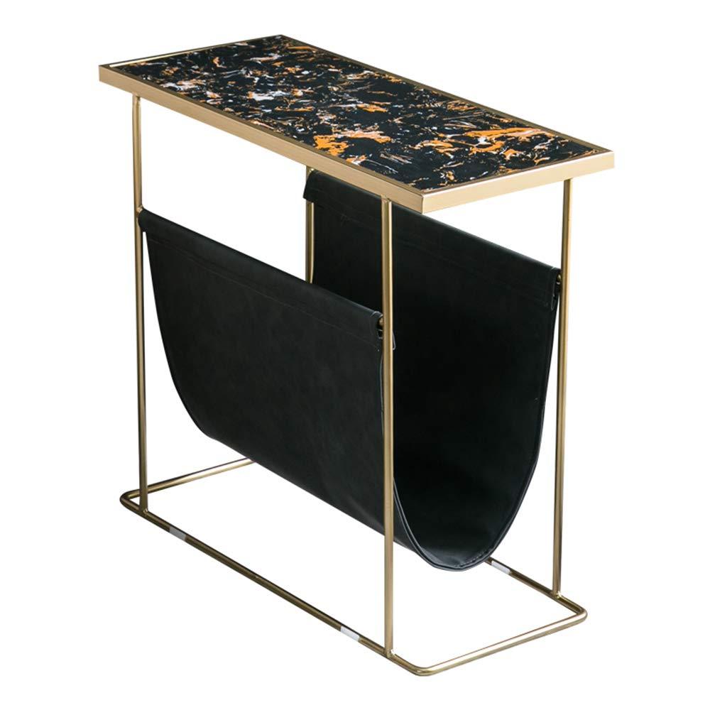 XINGZHE アイロンサイドテーブルラウンドテーブル - 大理石のモダンプノンペンコーヒーテーブルのベッドサイドテーブル多機能 - 収納袋付き鍛鉄ブラケット60x60CM 折りたたみ式テーブル (Color : Gold) B07T9BKRWG Gold