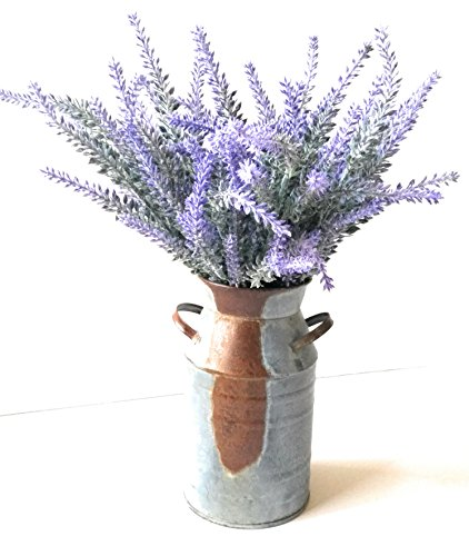 Home and Kitchen Market Flocked Lavender Bouquet & Rustic Galvanized Milk Can Vase 7 inch (Lavender Arrangements Flower)