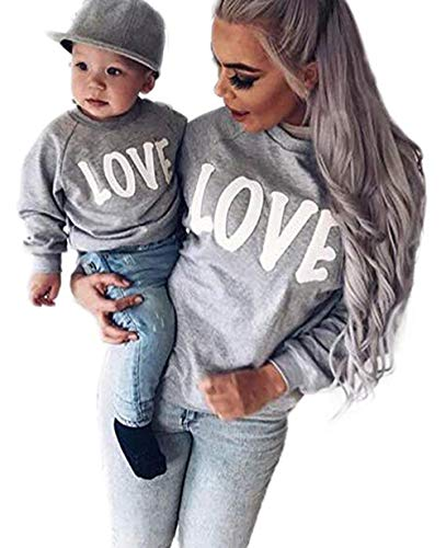 Family Matching Mother Daughter Son Letters Print Hoodie Long Sleeve Sweatshirt Size XL (Grey) (Mother And Son Matching Clothes)