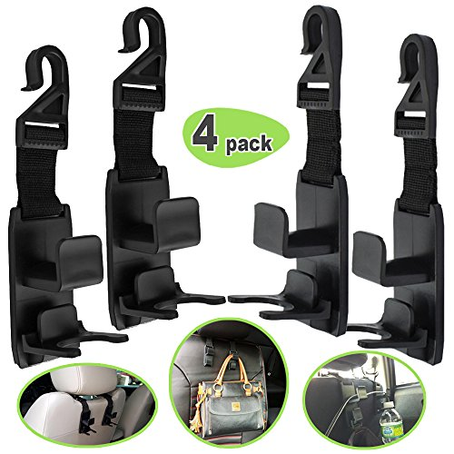Stay Put Hanger (Car Seat Headrest Hooks, Backseat Headrest Hanger Storage Organizer For Handbags, Purses, Coats, Grocery Bags, Heavy Duty and Durable, Vehicle Car Seat Headrest with Bottle Holder by Amison (4 PACK))